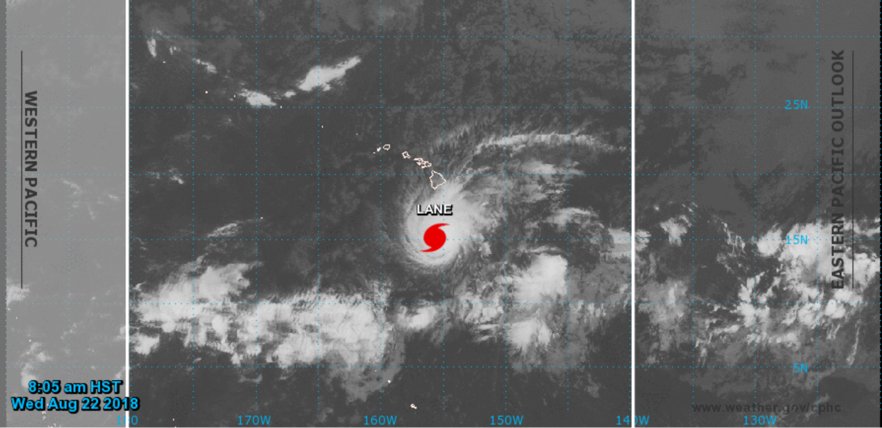 Satellite map of hurricane approaching Hawaiian Islands